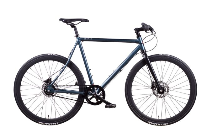 products 1 amsterdam commuter bike space blue 8 speed chain drive front view